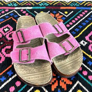 Pink Suede Leather Muk Luks Slip On Slide Sandals